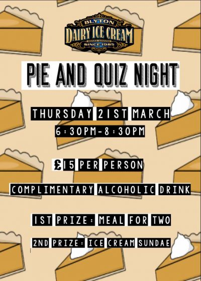 Pie and Quiz Night – Thursday 21st March